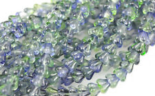 50 Blueberry Green Tea Bell Flower Czech Glass Beads 6MM