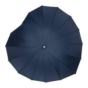 Soake Boutique Heart Shape Long Stick Umbrella (Navy)