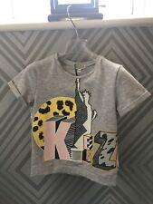 KENZO filles gris à manches courtes T-shirt avec imprimé graphique âge 8 Ans BNWT