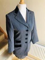 Vintage St Michael Grey Pure Wool Skirt Suit Size 10 Velvet Details Smart 80s