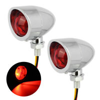 Chrome Bullet RED Blinker Turn Signal+Brake Stop+Running Tail Lights For Harley
