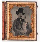 Civil War period Quarter plate Occupational Ambrotype of Cajun Fiddle Player
