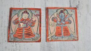 Mongolian Tibetan Set of 2 Paintings on PaperProtectors Thangka Tsakli