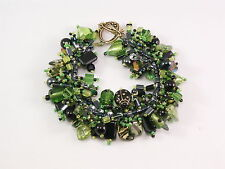 "Bracelet bead kit ""Limon"" Rich Black & Green Pressed Glass Beads  Fringe Magic"