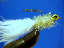 6 x LONGSHANK WHITE LEADHEAD DIVER FLIES SIZE 10 BY AQUASTRONG (085)