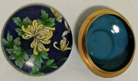 Vintage Chinese Cloisonne Mum and Butterfly Enamel Round Brass Trinket Box