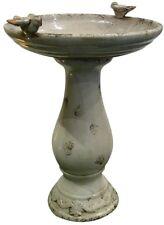24-In Antique Outdoor Garden Decor Ceramic Birdbath Fountain Light Brown New