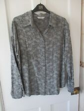 """ladies vintage blouse """""""" st .michael/ M&S """""""" size 16 . Grey floral . MADE IN UK."""