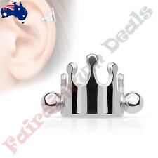 316L Surgical Steel Silver Ion Plated Crown Helix / Cartilage Cuff Barbell