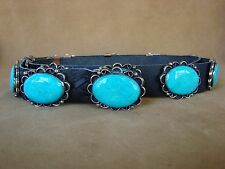 Navajo Indian Stamped Silver Turquoise Concho Belt byJackie Cleveland! BLT59