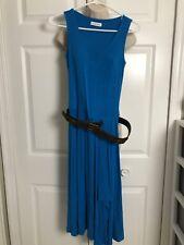 Calvin Klein Women S 2 Long Dress Sleeveless Tank Stretch Turquoise Blue Belted