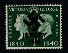 GB Jersey (277) 1940 Swastika Overprint forgey om genuine 1/2d Centenary u/m