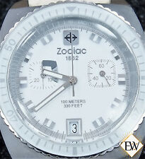 Vintage Style Zodiac Sea Dragon ZS2928 Chronograph Diver Watch Snow White Dial