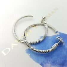 David Yurman Sterling Silver Medium 1.5' Inch Classic Cable Hoop Earrings