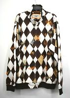 Ecko Unltd Mens Embroidered Rhino Orange Brown Argyle Print Full Zip Jacket 2XL