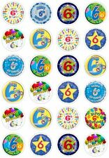 24 6th Birthday Boy Blue Cupcake Fairy Cake Toppers Edible Rice Wafer Paper