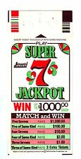 Jewel Tea Osco Foods Food Store Super Sevens 7's Game Card Ticket XMT Gift Ofr