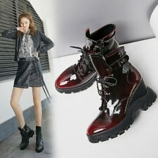 Women Ladies Fashion Patent Leather Lace Up Wedge Heel Combat Boots Shoes BGHE