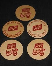 5 VINTAGE 1950's SCHLITZ COASTERS Draft BEER ON TAP WORLDS FINEST MILWAUKEE