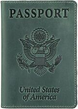 Passport Holder Cover and Travel Wallet Genuine Leather Green Vintage