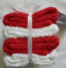 """Mainstays 4 Pack 100% Cotton Red White Washcloths Gift Set Dish towel 11x11"""" New"""