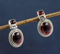 Solid 925 Sterling Silver Jewelry Garnet Gemstone Handmade Women's Earring