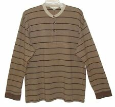 Sz XXL Long Sleeve Henley EDDIE BAUER Brown/Tan Stripe 100% Cotton
