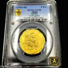 SPAIN GOLD COB 1556 4 ESCUDOS KING PHILIP II PCGS 58 SEVILLE MINT DOUBLOON COIN