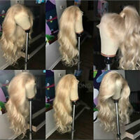 100% Malaysian Virgin Human Hair Wig Blonde Straight Wavy Lace Front Wigs Soft