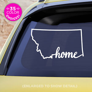 "Montana State ""Home"" Decal - MT Home Car Vinyl Sticker - add a heart over a city"