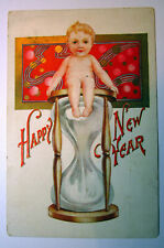 Postcard Happy New Year Hourglass Embossed Antique Card Baby Sitting On Top 1515