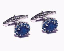 New Exclusive-925 Sterling Silver Natural Blue Sapphire Descent Cuff-links