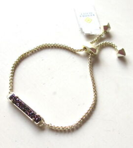 NEW Kendra Scott Stan Gold Adjustable Chain Bracelet in Multicolor Drusy $75 NWT