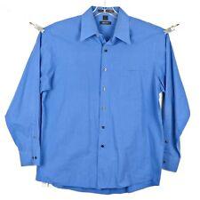 DKNY Mens Dress Shirt Sz L -16.5 34/35 Long Sleeve Button Front Blue Stripe