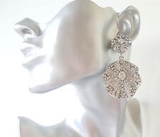 Impresionante 6.5 Cm Tono Plata & Diamante Cristal Doble Pendientes De Disco Redondo