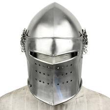 Medieval Renaissance Detachable Visor Barbute 16 Guage Functional Helmet Armor