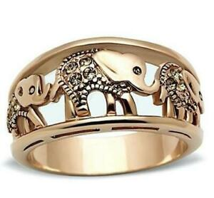 Gold Plated Elephant Ring Women Fashion Statement Ring Good Luck Ring