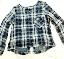 $108 Anthropologie Cloth & Stone Textured Blue Plaid Long Sleeve Top Lace Up XL