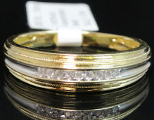 10k Yellow Gold Mens Round Genuine Channel Diamond 6mm Wedding Band Ring 1/10ct