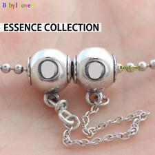 925 Sterling Silver Essence Collection Logo Safety Chain Charm Bead Fit Bracelet