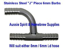 Brand New Stainless Steel J Piece 6mm Barbs for Home Brew Beer Gas Line Splitter