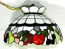 Tiffany Stained Glass Hanging Swag Lamp Light Fruit