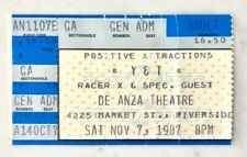 Y & T With Racer X Concert Ticket Stub 1987 De Anza Theatre Riverside Ca