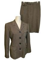 Ralph Lauren Skirt Suit Set Jacket Blazer Black White Wool Blend Size 8/10