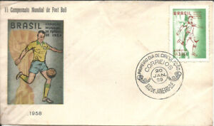 BRAZIL 1959 FOOTBALL SOCCER WORLD CUP CHAMPIONSHIP on Coloured FDC
