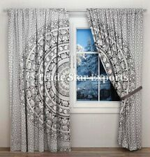 Indian Elephant Mandala Curtains Hippie Black And White Window Wall Drapes Panel