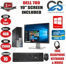 "rapide DELL Optiplex 780 Ultra SFF PC Ordinateur core i3 4 Go 250 19 "" TFT Win"