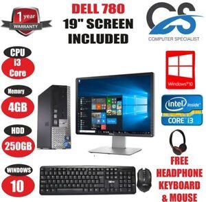 """FAST DELL OPTIPLEX 790 ULTRA SFF PC COMPUTER CORE i3 4GB 250GB 19"""" TFT WIN 10"""