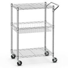 3-Tier Utility Cart Heavy Duty Wire Rolling Cart Kitchen Metal Storage Trolley