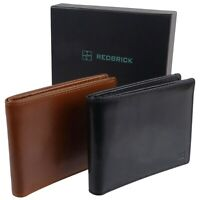 Mens Quality Leather Bi-Fold Wallet Gift Boxed by Redbrick